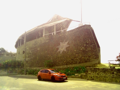 This was the 2008 Street STI car in front of a church shaped like a boat
